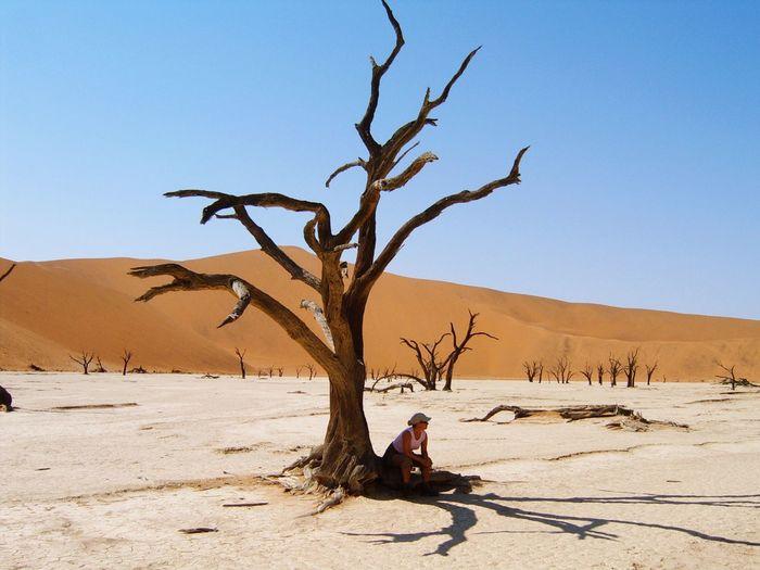 Man sitting on sand at desert against clear sky