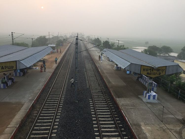 Perspective Photograph of Railway Track taken from Drone Aerial Shot Drone  India Perspective Perspectives Railroad Track Train Tracks Above The Ground Aerial Aerial Photography Aerial View Dronephotography Droneshot Landscape Rail Rail Lines Railway Line Railway Track Sunrise Train Line Vanishing Point