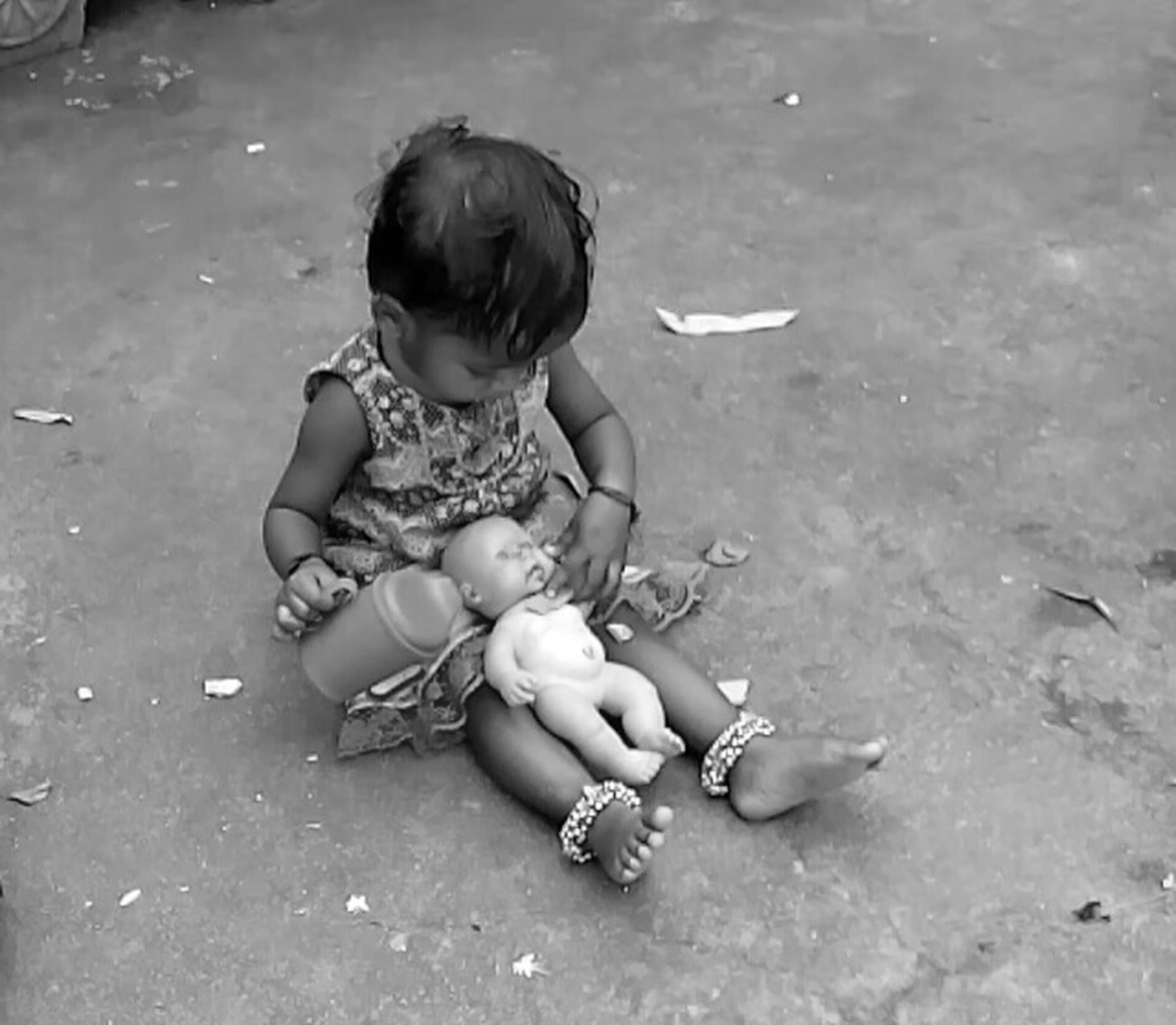 childhood, elementary age, boys, lifestyles, innocence, full length, girls, leisure activity, high angle view, person, cute, casual clothing, playing, playful, toddler, preschool age, holding, baby