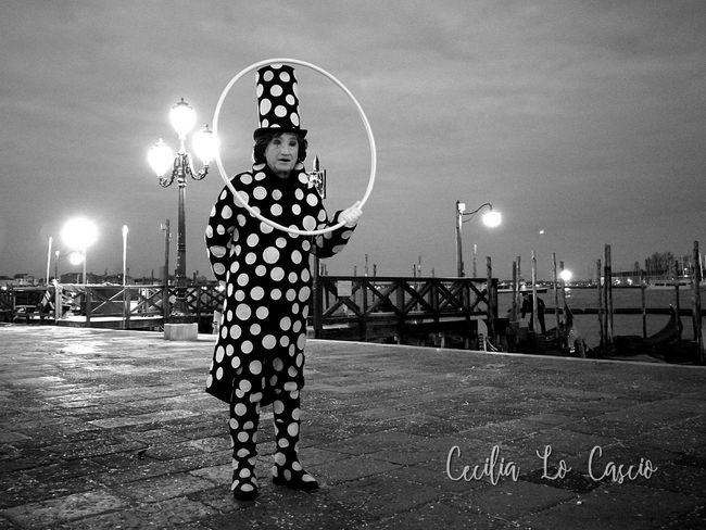 Night One Man Only Illuminated Carnival Pagliaccio Clown, Venice, Italy Venice Carnival