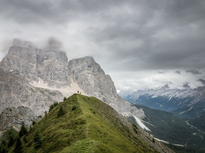 Scenic View Of Monte Pelmo Against Cloudy Sky