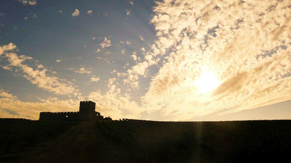 Old castle at sunset Valongo Walls Silhouette Clouds Alentejo Portugal castle Old monument Landmark