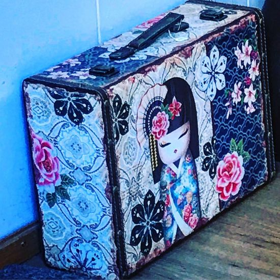 Vacation. Happy Surprise Portrait Of A Woman Vacations Bagage Art And Craft Creativity Wall - Building Feature No People