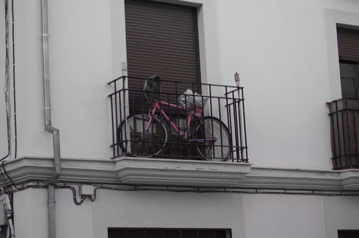 Pink Bike Bycicle Covers Balcony Walking Around Antequera Malaga SPAIN Pentax Pentaxkx