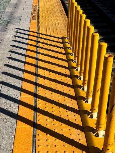 High angle view of yellow steps