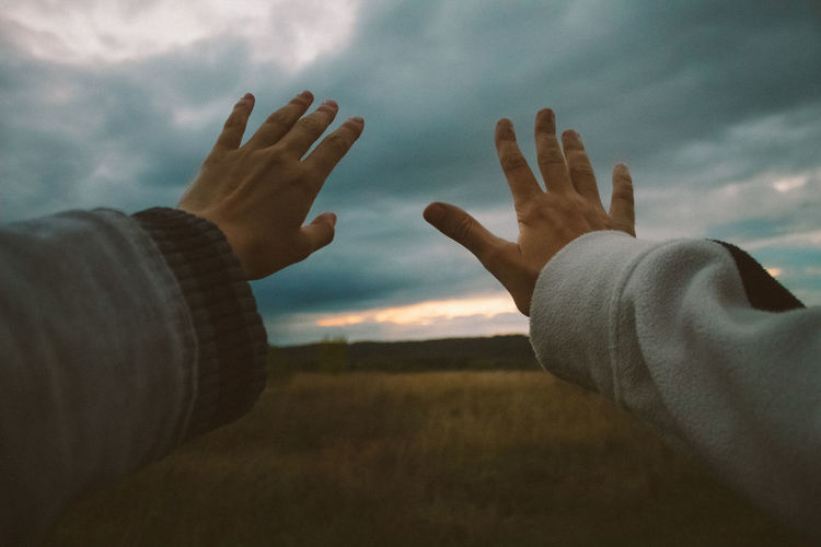Beauty In Nature Close-up Cloud - Sky Gesturing Human Body Part Human Finger Human Hand Lifestyles Men Nature Outdoors People Real People Scenics Sky Togetherness Two People