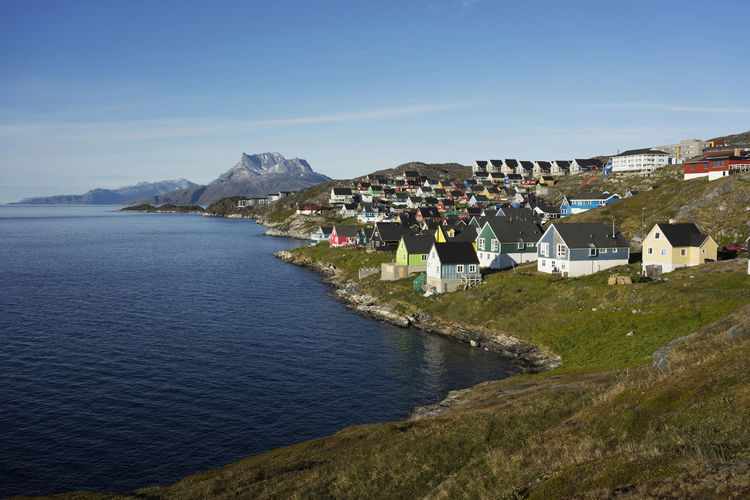 Colorful houses in Nuuk, the capital town of Greenland, in the summer. Colors Colourful Greenland Houses Architecture Arctic Building Building Exterior Built Structure Capital City Colorful House Land Mountain Nature No People Nuuk Ocean Outdoors Residential District Summer Town TOWNSCAPE Water