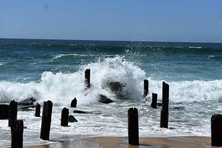 Sea Wave Motion Horizon Over Water RISK Day Nature Water Beach Power In Nature No People Outdoors Crash Clear Sky Sky Beauty In Nature