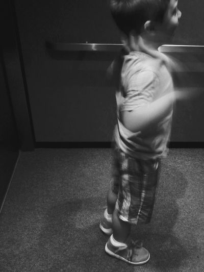 this would be my sons My Favorite Place . the Elevator . That's Also The Fastest  Arm Flapping I've seen in awhile! Black And White Bnw_life Going For A Ride  Kid Childhood Monochrome Action Motion Blur Autism Stim Fun Excitement Happiness Autism Awareness