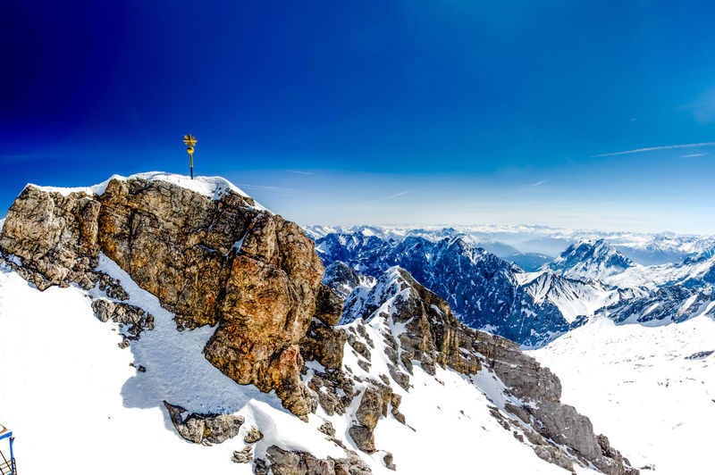 Summit Cross of the Zugspitze Zugspitze Beauty In Nature Cold Temperature Mountain Mountain Peak Nature Scenics - Nature Sky Snow Summit Cross Winter