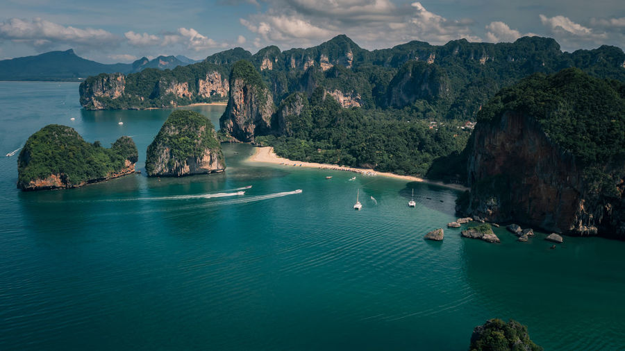 High angle view seascape and mountain view at railay bay in the rain season krabi province thailand