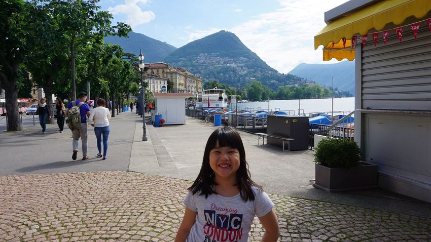 happy kid on vacation Tourist Attraction  Travel Destinations Travel Photography Little Girl Cute Travelling Photography Lugano, Switzerland