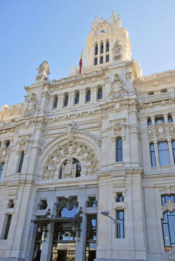 Cibeles Palace Madrid SPAIN Townhall Architectural Column Architecture Building Building Exterior Built Structure Casa De Correos City Clear Sky Day Façade History Low Angle View Nature No People Sky The Past Tourism Travel Travel Destinations Window