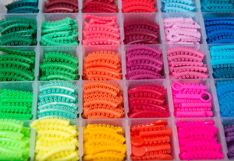 Full frame shot of multi colored teeth rubber