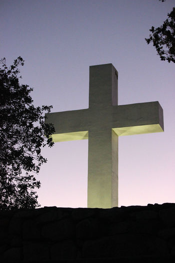 Clear Sky Cross Cross At Dusk Cross On A Mountain Low Angle View Religion Single Object Studio Shot Easter Ready