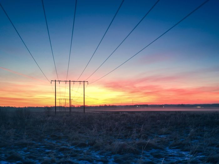 Sunset Power Line  Cable Field Electricity  Tranquility Tranquil Scene Nature Beauty In Nature Power Supply Sky Electricity Pylon Scenics Outdoors Fuel And Power Generation Connection Landscape Electricity Tower Technology