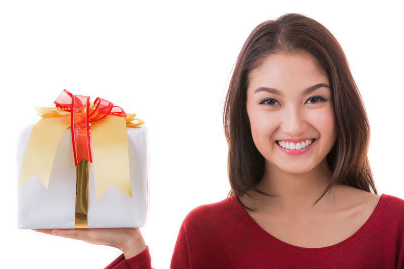 Merry Christmas Adult Adults Only Beautiful People Beautiful Woman Beauty Brown Eyes Cheerful Close-up Females Happiness Headshot Long Hair Looking At Camera One Person One Woman Only One Young Woman Only Only Women People Portrait Smiling Studio Shot White Background Women Young Adult Young Women