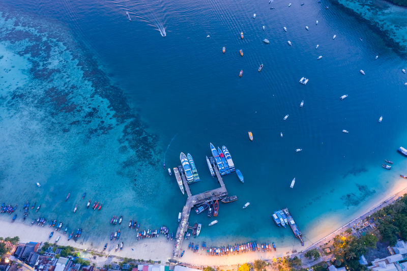 Passenger pier on phi phi island kra bi thailand at twilight aerial view