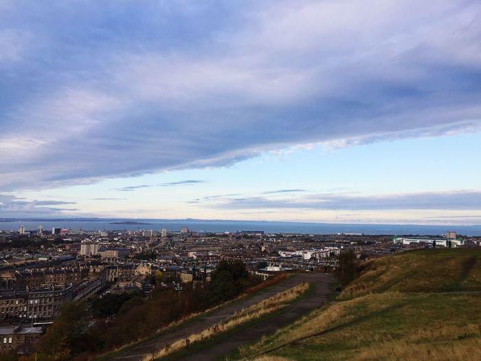 Calton Hill High Angle View Cityscape Edinburgh Cloud - Sky Scenics Sea