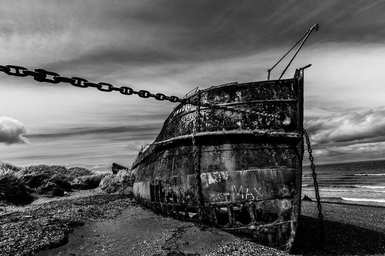 Stranded for good Abandoned Blackandwhite Chile Day Nature No People Outdoors Patagonia Patagonia Chilena San Gregorio Shipwreck Shipwreck Beach Sky