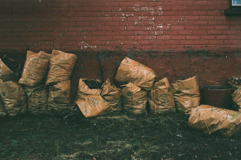 Heap of brick wall