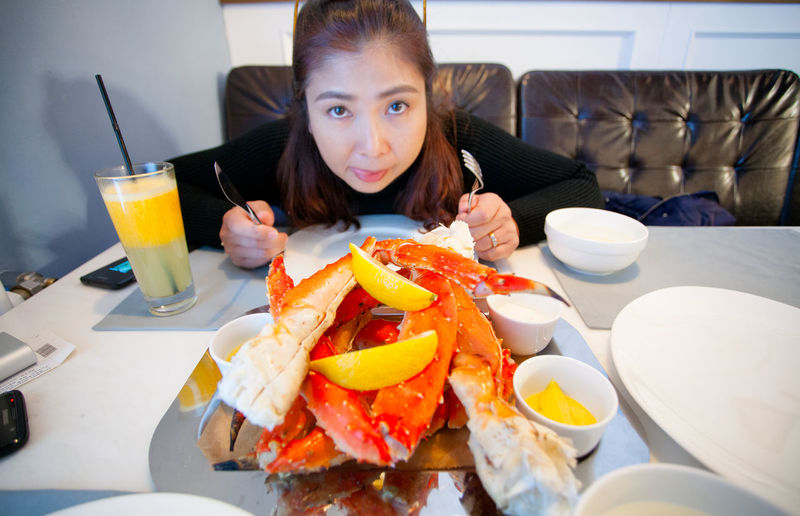Crab - Seafood Food Food And Drink Indoors  Lifestyles One Person Restaurant Sitting Table