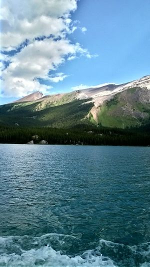 Lake Maligne Beauty In Nature Blue Sky And Clouds Canada Cloud - Sky Day Lake Landscape Mountain Mountain Range Nature No People Outdoors Scenics Sky Tranquil Scene Tranquility Water Waterfront