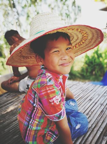 Kid Hat Smiling Happiness Sun Hat Child One Person Cheerful People Outdoors Portrait Cute Human Face Human Body Part Adult Looking At Camera Women Real People Multi Colored Childhood Day Home Close-up Outdoor Photography Our Best Pics Outside