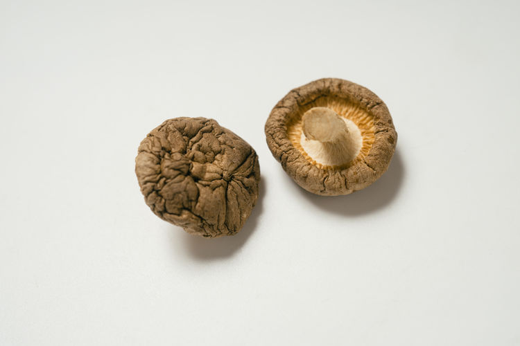 White Background Food Close-up Brown Two Objects High Angle View Dried Shii-take Lentinus Edodes Mushroom Edible  Fungus