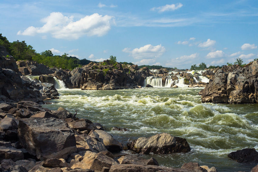 The rapids of Great Falls National Park in Virginia Adrenaline Adrenaline Junkie America American History Americana Blue Skies Falls Flowing Great Falls Great Falls National Park Kayaking National Monument National Park Natural Heritage Potomac Potomac River Rapids River Landscape River Scene Riverbed Rocky USA Virginia Whitewater Whitewater River
