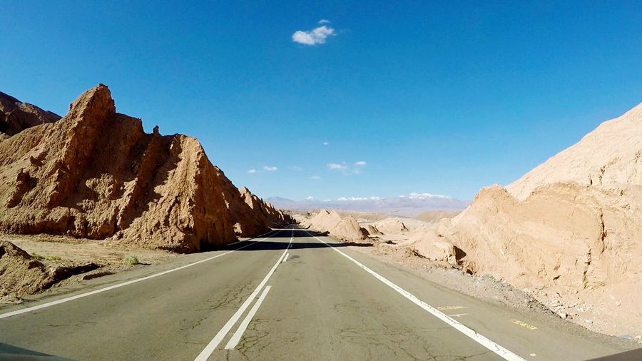 Mars Road South America Latin America Gopro Canyon Desert Chile Road Sky Direction Transportation Mountain The Way Forward Nature Road Marking Scenics - Nature Marking Symbol No People Tranquil Scene Tranquility Rock Blue Diminishing Perspective Mountain Range Beauty In Nature The Traveler - 2018 EyeEm Awards Summer Road Tripping Summer Road Tripping My Best Travel Photo