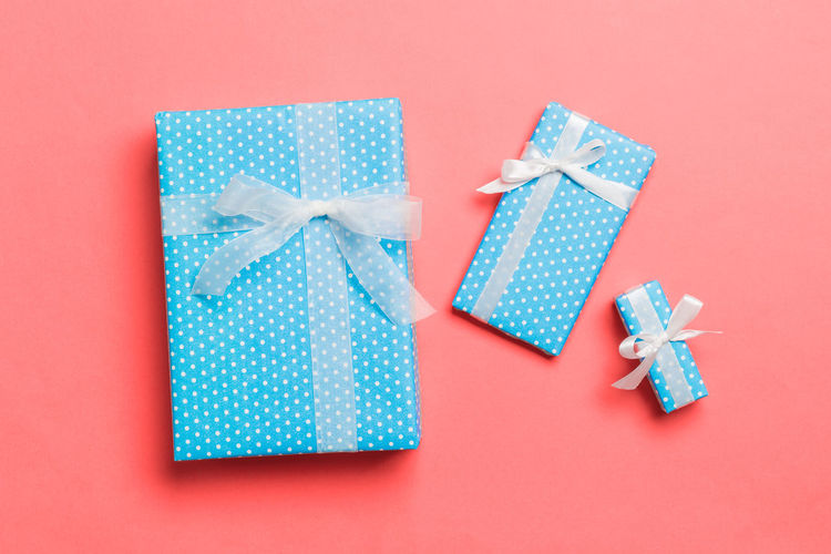 Various blue box against colored background
