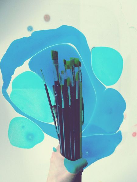 Paint Brushes Painting Tools Messy Abstract Splash Of Colors Holding Hand Human Hand Blue Color Turquoise Painting Abstract Collage Creativity Work Tools Art Is Everywhere Art Creation Cut And Paste