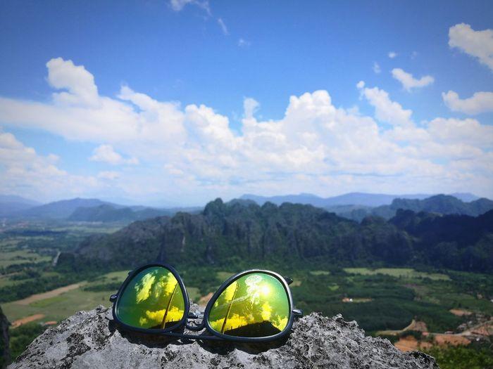 aim high reach peak Mountain Hikingadventures Viewpoint Sunglasses Reflection Happiness♥ Sunshine ☀ Jungle Fun