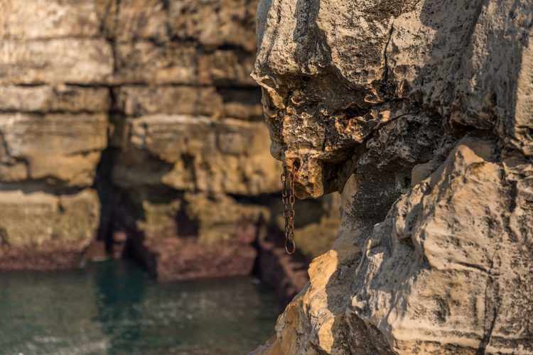 Close-up of rock formation in water