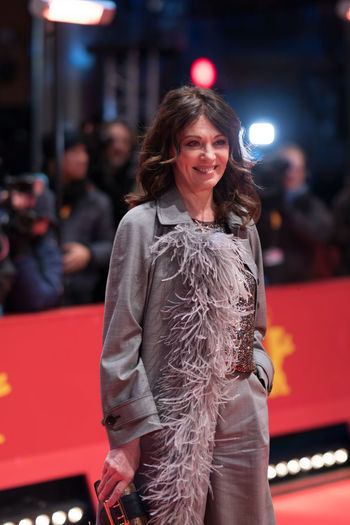 German actress Iris Berben poses on the red carpet before the awards ceremony of the 68th edition of the Berlinale film festival 2018 68th Berlinale Award Ceremony Famous Film Festival Golden Bear Actress Arts Culture And Entertainment Berlinale Berlinale 2018 Berlinale Festival Berlinale2018 Berlinale68 Entertainment Entertainment Event Fashion Film Festivals Focus On Foreground German Actress Iris Berben Looking At Camera One Person Red Carpet Red Carpet Event Smiling Three Quarter Length