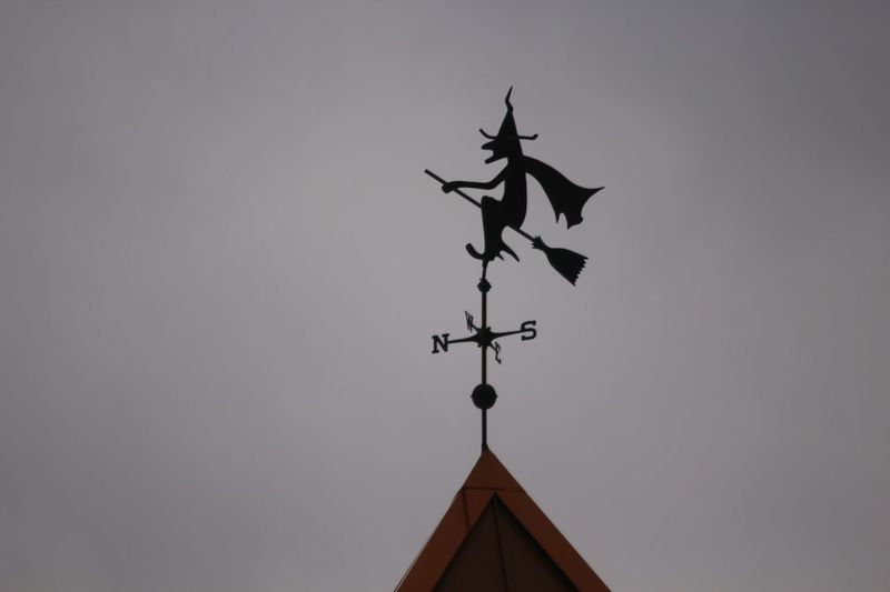 Silhouette Witch Salem, Massachusetts Low Angle View Weather Vane Sky Architecture Built Structure No People Nature