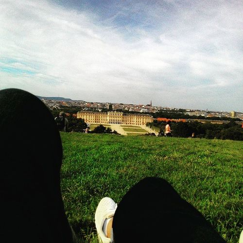 Lying down n enjoy the cool view from the top of the palace Vienna Austria Schönnbrunn