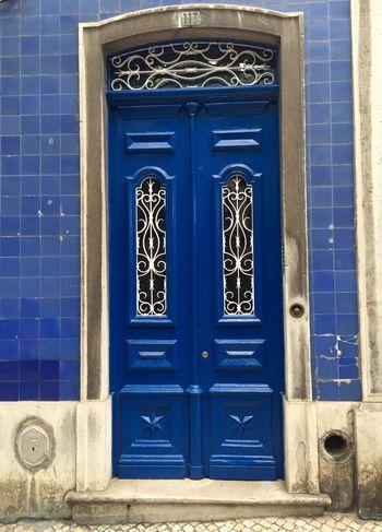 Old Wood Doors Deep Blue Lisboa Portugal Capital Bairroalto