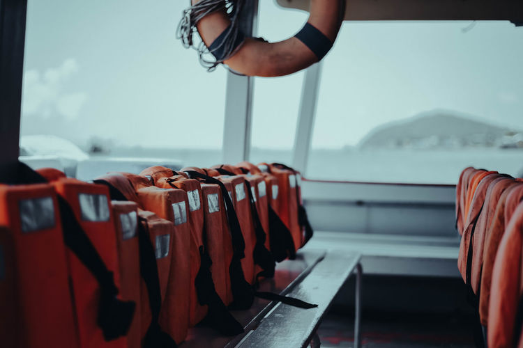 Life jackets in boat