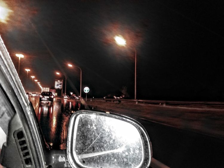 Car Illuminated Land Vehicle Mode Of Transport Night No People Outdoors Road Sky Street Light The Way Forward Transportation