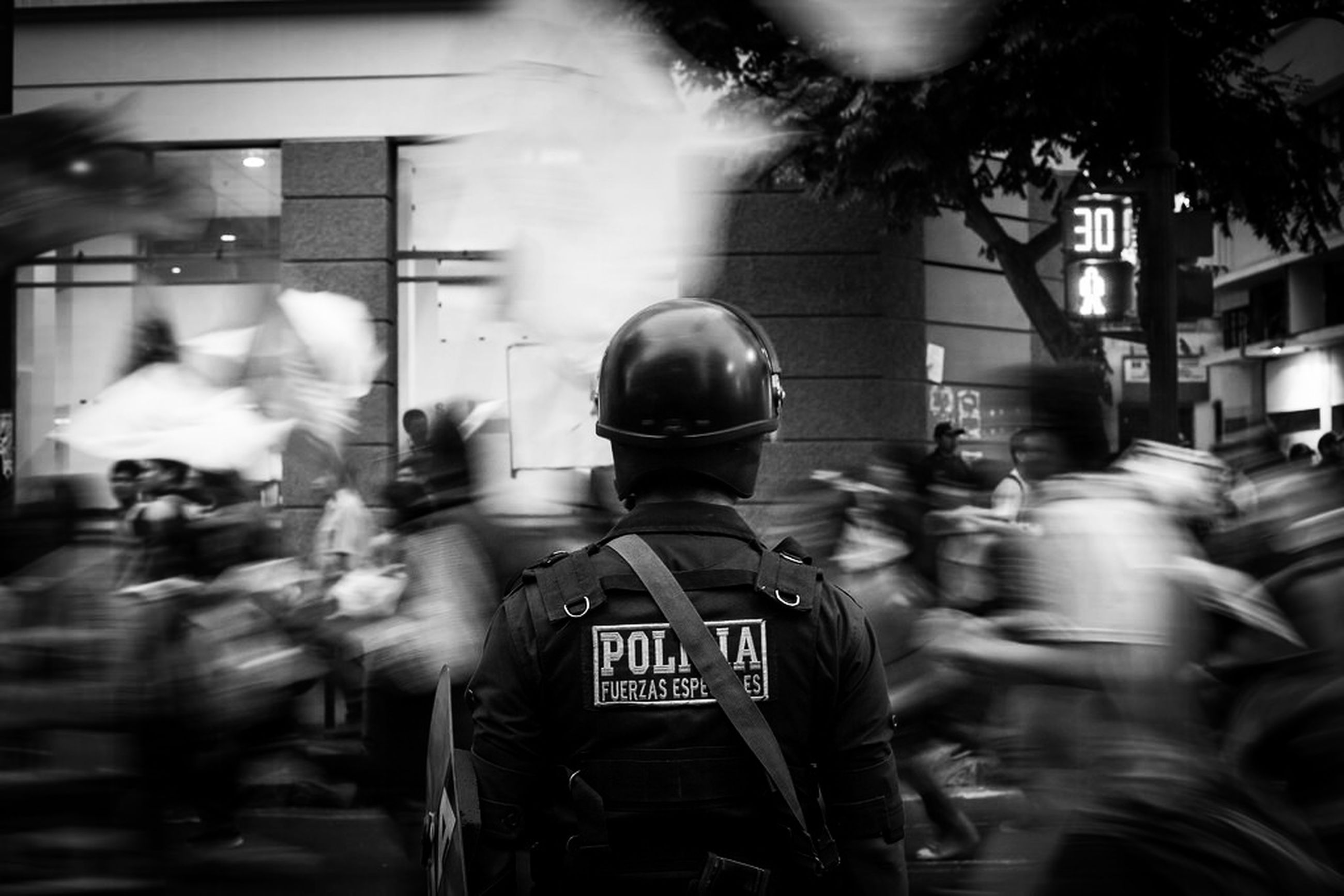 rear view, city, men, uniform, real people, responsibility, protective workwear, guarding, people, outdoors, adult, day