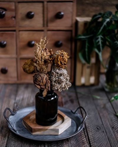 Close-up of potted dried flowers on table