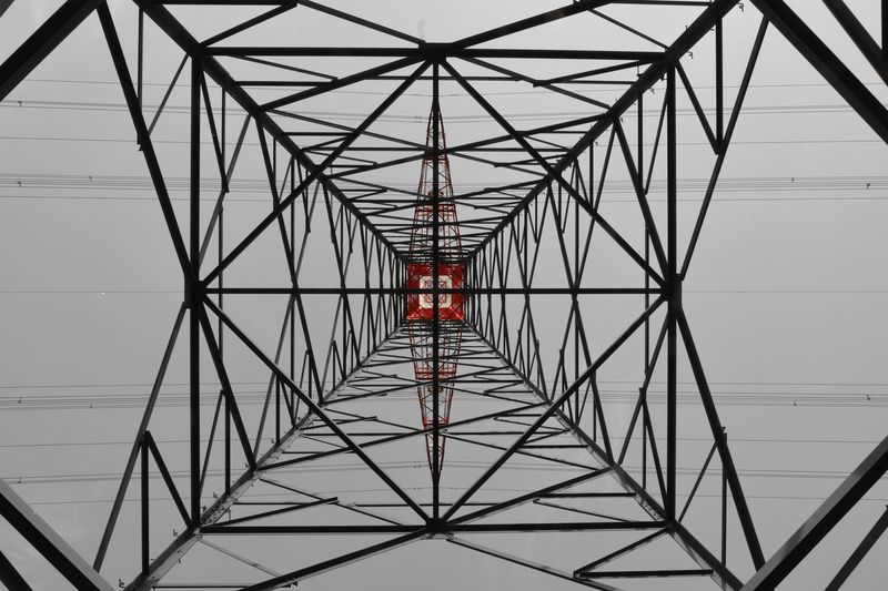 The Geometry Geometric Shapes Red Architectural Feature Architecture Built Structure Ceiling Complexity Connection Day Design Directly Below Geometric Geometric Shape Geometry Grid Indoors  Lines And Shapes Low Angle View Metal Nature No People Pattern Red Sky Symmetry 17.62°