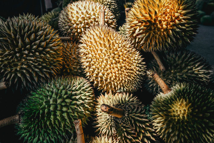 Yummy😄 Exotic South East Asia Textures Close-up Food And Drink Freshness Fruit King Of Fruits Nature No People Outdoors Pungent Spiked Thorn Love Hate Durian Crafted Beauty Food Stories