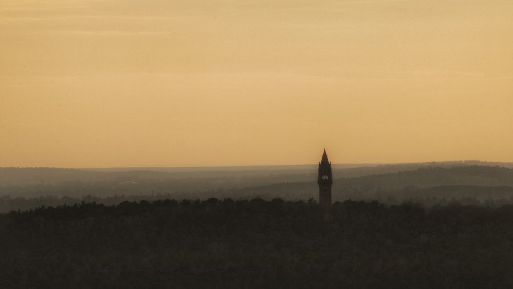 Blick auf den Grunewald mit Grunewaldturm in der Abenddämmerung 🌲🏰🌲🌲🌄 Sundown Landscape Sundown Grunewald Grunewaldturm Berliner Ansichten Berlin Photography Beautiful Evening Red Sky Silhouette Sky Landscape