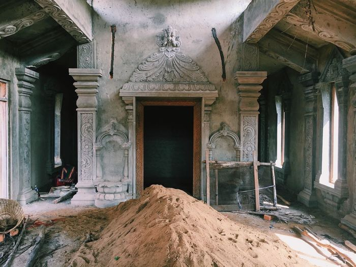 Heap Of Sand In Of Abandoned Building
