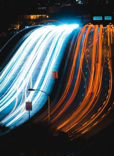 Busy intersection Moving Cars Long Exposure Lights Busy Motion Long Exposure Light Trail Night Speed Illuminated Blurred Motion No People Transportation Outdoors High Street City Nature