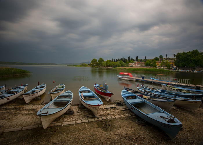 Cloud - Sky Water Nautical Vessel Transportation Mode Of Transportation Sky Moored Nature Lake No People Tranquility Day Beauty In Nature Overcast Scenics - Nature Outdoors Travel Tranquil Scene