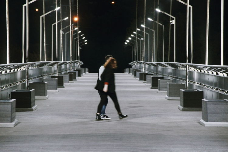 Bridge Friends Nightphotography Night Ice Rink Full Length Cold Temperature Winter Warm Clothing Ice Hockey Illuminated